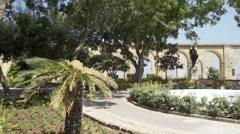 Panorama of Mediterranean garden Stock Footage