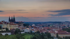 A beautiful view of Prague at sunrise on a misty morning timelapse Stock Footage