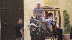 Slow motion of people in horse and carriage Stock Footage
