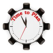 Time to plan sentence on the clock with chairs. 3D illustration Stock Illustration