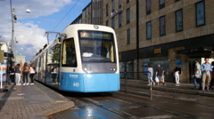 A tram in central Gothenburg Stock Footage