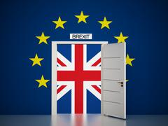 European Union map around open door leading to British flag. 3D illustration Stock Illustration