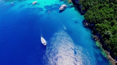 Tropical Ionian Greece island 4k video. Yacht blue lagoon water bay sea coast Stock Footage