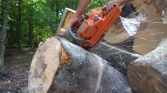 Man Cutting Woods Stock Footage