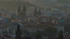 Spires of the old town and tyn church at sunrise timelapse. czech republic Stock Footage