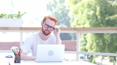 Tense, Stressed, Frustrated Man Sitting in Balcony of Office, Outdoor Stock Footage