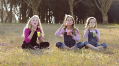 Three girls kids sisters blowing bubbles with soap in a farm field Stock Footage