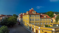 House roofs on Kampa Island near Charles Bridge timelapse hyperlapse, Prague Stock Footage