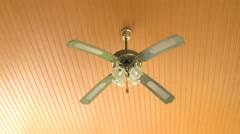 Abstract vintage fan lamp hanging on the ceiling Stock Footage