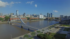 Argentina Buenos Aires flying over Puerto Madero Stock Footage