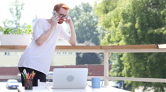 Dialing Call, Talking on Phone,Standing in Balcony Outdoor Stock Footage