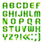 Alphabet folded paper - Green letters. Stock Illustration