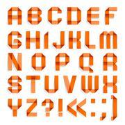Alphabet folded of colored paper - Orange letters Stock Illustration