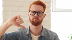 Reaction of Loss,Thumbs Down, Unsatisfied Man with Beard and Red Hairs, Portrait Stock Footage