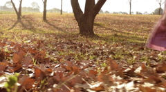 Young girls children kids playing running in fallen autumn leaves Stock Footage