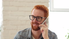 Man with Beard and Red Hairs Talking on Phone, Discussion, Portrait Stock Footage