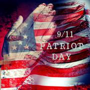 Text 9/11 Patriot Day and flag of the United States of America Stock Photos