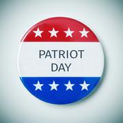 Pin button with the text patriot day Stock Photos