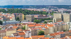 Panoramic view of Prague timelapse from the top of the Vitkov Memorial, Czech Stock Footage