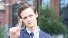 Gesture of No by Waving Finger, Young Businessman Portrait Stock Footage