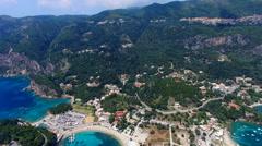 Flight Paleokastritsa bay Greece Corfu aerial HD video. Resort sea coast rocky Stock Footage