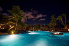 Night scenic view of five stars hotel Stock Photos