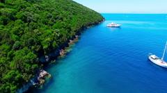 Tropical Ionian Greece island 4k video. Ocean sea coast seashore water yacht Stock Footage
