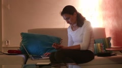 Woman navigating the internet. Stock Footage