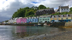 4K UltraHD View of colorful buildings in Portree, Isle of Skye, Scotland Stock Footage