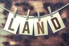 Land Concept Pinned Stamped Cards on Twine Theme Stock Illustration