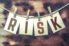 Risk Concept Pinned Stamped Cards on Twine Theme Stock Illustration