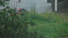 Rainfall in residential area, 4K clip Stock Footage