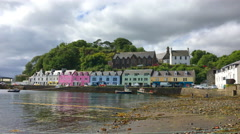 4K UltraHD View of colorful buildings in Portree, Isle of Skye Stock Footage