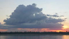 TIMELAPSE Sunset clouds at Mekong river,Kratie,Cambodia Stock Footage