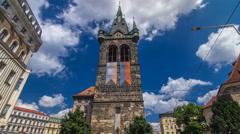Jindrisska Tower timelapse hyperlapse - the highest belfry in Prague Stock Footage
