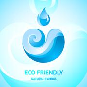 Blue water natural symbol Stock Illustration