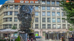 Monument of Franz Kafka timelapse in form of gigantic head with rotating Stock Footage