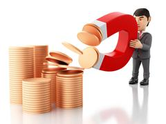 3d Businessman with a magnet attracting money. Stock Illustration