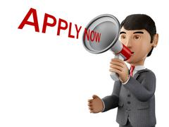 3d Businessman with a megaphone and apply now. Stock Illustration