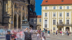 St. Vitus Cathedral court timelapse in Prague surrounded by tourists Stock Footage