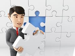 3d Businessman with a piece of puzzle. Stock Illustration