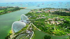 Aerial view of Garden by the Bay and Singapore Flyer Stock Footage