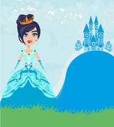 Beautiful young queen in front of her castle Stock Illustration
