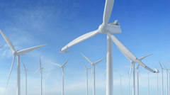 Grow up building wind turbines generating energy Stock Footage