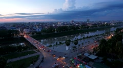 TIMELAPSE Sunset with traffic and skyline,Battambang,Cambodia Stock Footage