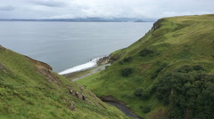 4K UltraHD Clifftop view from the Isle of Skye, Scotland Stock Footage
