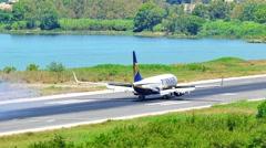 CORFU, GREECE – JUNE 2 2016: Kerkira Airport 4k video. Plane landing runway Stock Footage