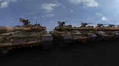 New military tanks with green and yellow camouflage painting. Seamless loopable Stock Footage