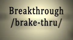 Definition: Breakthrough Stock Footage