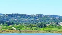 Corfu Kerkira 4k video. Mountain hills village, lake. View from airport Stock Footage